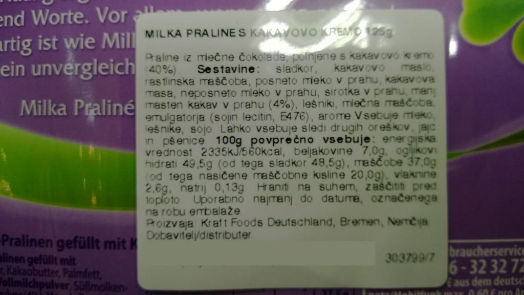 Čokolada Milka - emulgatorji